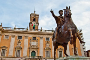 statue of Marcus Aurelius in front of the Palazzo dei Senatori